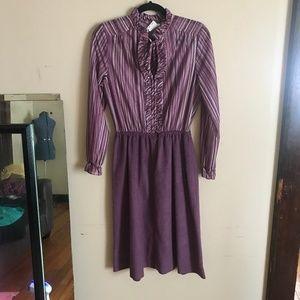Vintage | Size 14. Purple Ruffle Shirt Dress